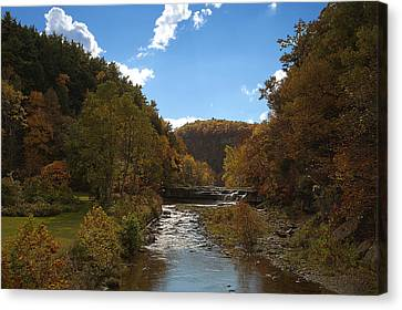 Canvas Print featuring the photograph Taughannock Lower Falls Ithaca New York by Paul Ge