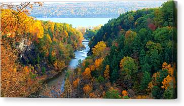 Taughannock River Canyon In Colorful Autumn Ithaca New York Panoramic Photography  Canvas Print