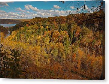 Canvas Print featuring the photograph Taughannock River Canyon In Colorful Fall Ithaca New York II by Paul Ge