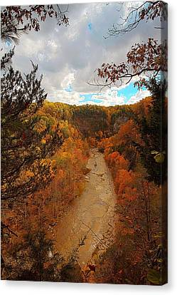 Canvas Print featuring the painting Taughannock River Canyon In Colorful Fall Ithaca New York IIi by Paul Ge