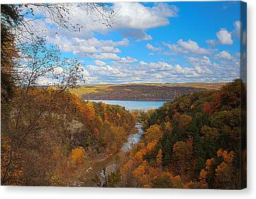 Canvas Print featuring the painting Taughannock River Canyon In Colorful Fall Ithaca New York Iv by Paul Ge
