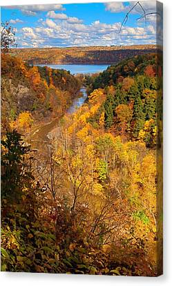 Canvas Print featuring the photograph Taughannock River Canyon In Colorful Fall Ithaca New York by Paul Ge