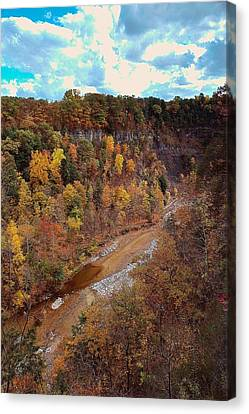 Canvas Print featuring the painting Taughannock River Canyon In Colorful Fall Ithaca New York V by Paul Ge