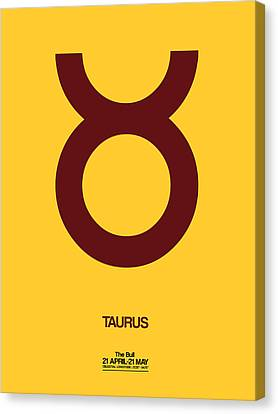 Zodiac Signs Canvas Print - Taurus Zodiac Sign Brown by Naxart Studio