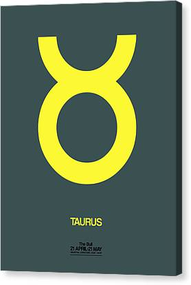 Zodiac Signs Canvas Print - Taurus Zodiac Sign Yellow by Naxart Studio