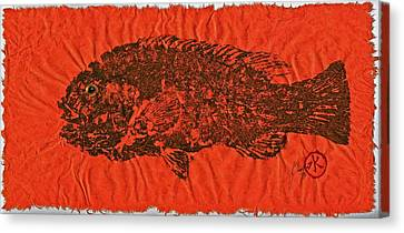 Tautog On Sienna Thai Unyru / Mulberry Paper Canvas Print by Jeffrey Canha