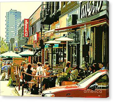 Tavern In The Village Urban Cafe Scene - A Cool Terrace Oasis On A Busy Hot Montreal City Street Canvas Print by Carole Spandau