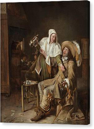 Tavern Scene With Maid Trying To Fill The Glass Of A Cavalier Canvas Print