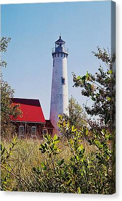 Canvas Print featuring the photograph Tawas Point Lighthouse...from Tawas Bay Side by Daniel Thompson