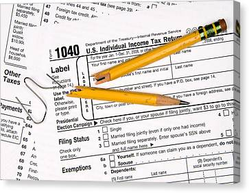 Tax Forms And Frustration Canvas Print
