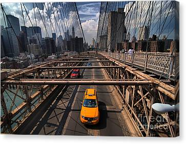 Taxi Crossing The Brooklyn Bridge Canvas Print by Amy Cicconi