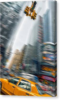 Taxi On Times Square Canvas Print by Delphimages Photo Creations