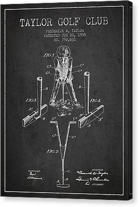 Taylor Golf Club Patent Drawing From 1905 - Dark Canvas Print