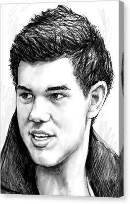 Taylor-lautner Art Drawing Sketch Portrait Canvas Print by Kim Wang