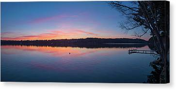 Taylor Pond With Dock At Sunset Canvas Print