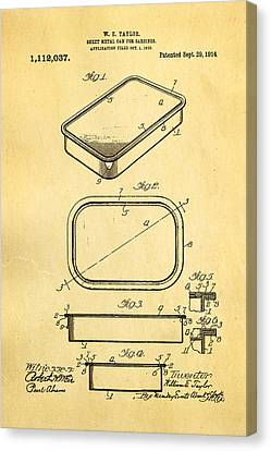 Taylor Sardine Can Patent Art 1914 Canvas Print