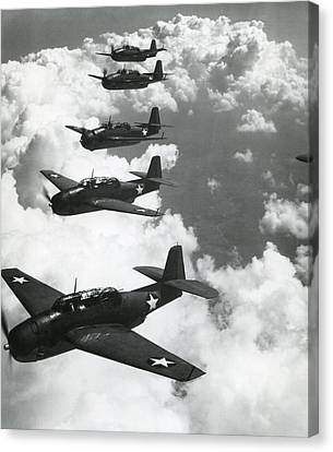 Tbf Torpedo Fighter Bombers Avengers Canvas Print