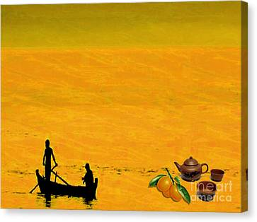 Canvas Print featuring the digital art Tea And Oranges by Mojo Mendiola
