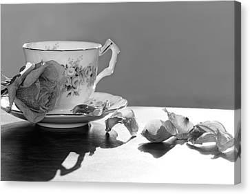 Tea And Roses Still Life Canvas Print by Lisa Knechtel