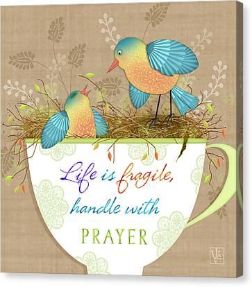 Tea Cup Wisdom Canvas Print by Valerie Drake Lesiak