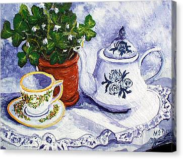 Rose Cottage Gallery Canvas Print - Tea For Nancy by Barbara McDevitt