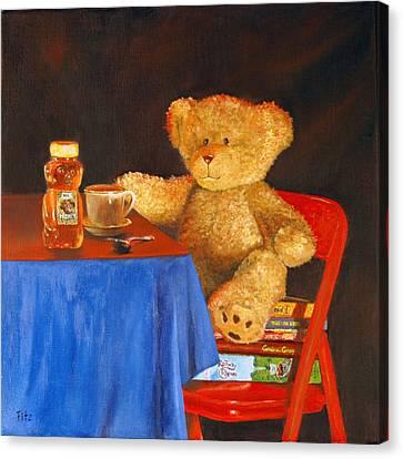Tea For Teddy Canvas Print by Rick Fitzsimons
