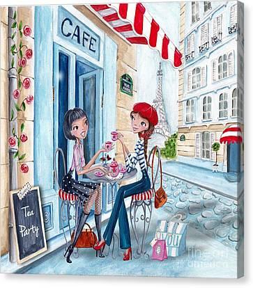 Kids Card Canvas Print - Tea In Paris by Caroline Bonne-Muller