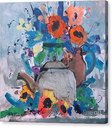 Tea Kettle And Sunflowers Canvas Print by Micheal Jones