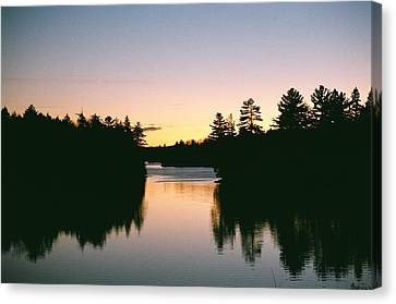 Canvas Print featuring the photograph Tea Lake Sunset by David Porteus
