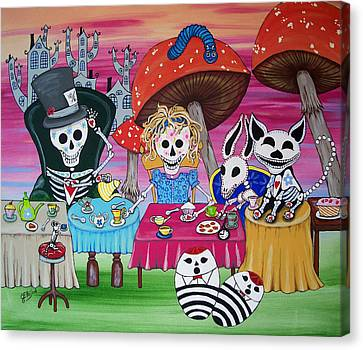 Tea Party Day Of The Dead Alice In Wonderland Canvas Print by Julie Ellison