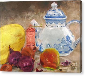 Tea Pot And Spice Grinder Canvas Print
