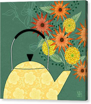 Mother Canvas Print - Tea Pot Glory by Valerie Drake Lesiak