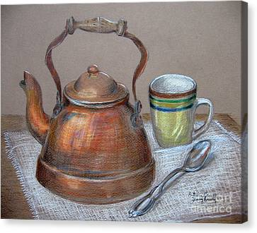 Canvas Print featuring the drawing Tea Pot by Patricia Januszkiewicz