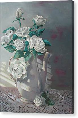 Tea Pot Roses Canvas Print