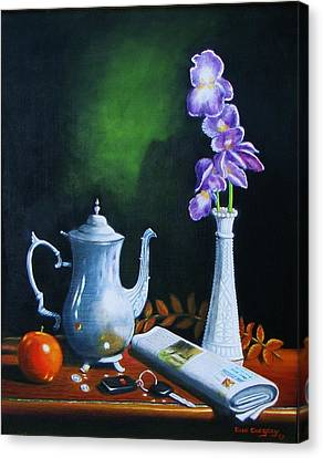 Tea Pot With Iris Canvas Print by Gene Gregory
