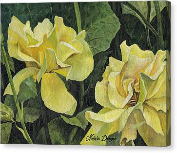 Canvas Print featuring the painting Tea Rose by Natasha Denger