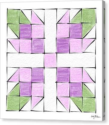 Tea Rose Quilt Block Canvas Print