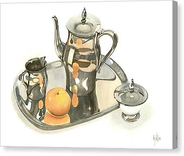 Tea Service With Orange Dramatic Canvas Print by Kip DeVore