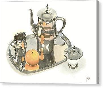 Tea Service With Orange Canvas Print