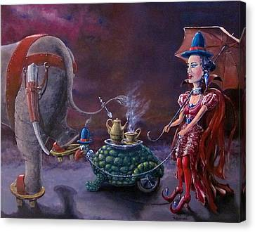 Canvas Print featuring the painting Tea Time by Geni Gorani