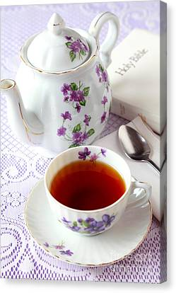 Tea Time With Bible Canvas Print by Pattie Calfy