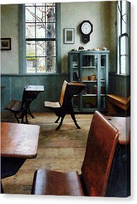 Teacher - One Room Schoolhouse With Clock Canvas Print by Susan Savad