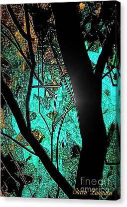 Canvas Print featuring the painting Teal And More by Steven Lebron Langston