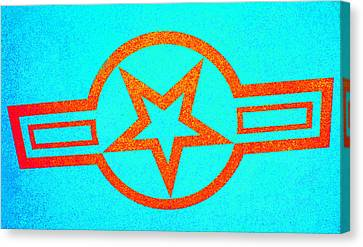 Teal And Rust Fighter Star Canvas Print by Holly Blunkall