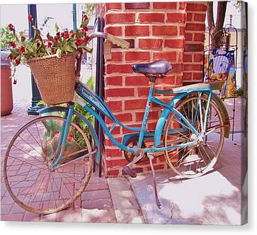 Bicycle With Flowers Canvas Print - Teal Blue Vintage Bicycle by Donna Wilson