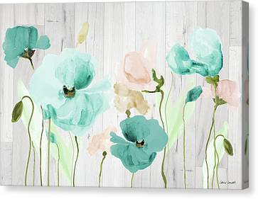 Teal Poppies On Wood Canvas Print