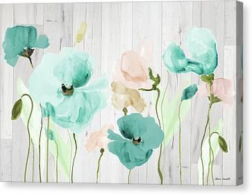 Teal Poppies On Wood Canvas Print by Lanie Loreth