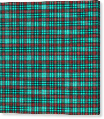 Teal Red And Black Plaid Fabric Background Canvas Print by Keith Webber Jr