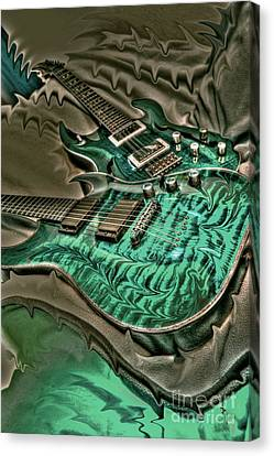 Teal Steel Digital Guitar Art By Steven Langston Canvas Print by Steven Lebron Langston