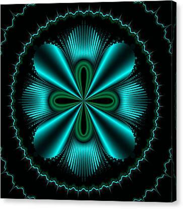 Teal Wheel Mandelbrot Canvas Print by Faye Symons